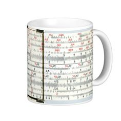 Vintage Antique Slide Rule Close-Up Classic White Coffee Mug - This coffee mug for the math enthusiast features a close-up scan of a vintage antique Keufel & Esser Deci-Lon logarithm slide rule showing some of the numeric scales. Great fun for the geek in your life! http://www.zazzle.com/vintage_antique_slide_rule_close_up_classic_white_coffee_mug-168059273900571383?design.areas=%5Bzazzle_mug_11_front%5D&rf=238083504576446517&tc=pint