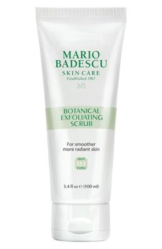 Free shipping and returns on Mario Badescu Botanical Exfoliating Scrub at Nordstrom.com. Banish dullness and fight dead skin cell buildup with Mario Badescu Botanical Exfoliating Scrub, an exfoliant formulated to refine and perfect skin's condition with nourishing botanicals. The deep-cleaning formula reveals a smoother, more radiant complexion thanks to finely ground seeds of the Ecuadorian ivory palm, which provide a gentle yet effective exfoliation. Antioxidant-rich ginger, ginkgo and ...