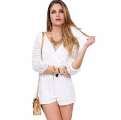 Lace Hollow Out White Casual Jumpsuits V Neck Sexy Shorts For Women  #woman #dress #women #clothe #fashion #clothes