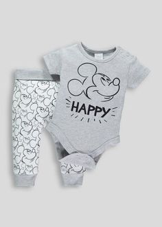 Baby Boys' Months Clothes - Newborn Baby, Page 2 Boys Mickey Mouse Bodysuit & Leggings Set (New Baby Outfits Newborn, Baby Boy Newborn, Baby Boy Outfits, Kids Outfits, Baby Baby, Dress Outfits, Baby Boy Fashion, Toddler Fashion, Kids Fashion