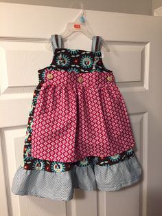 """Little girls dress with apron """"Ruffles and Lace"""" Pattern: McCall's Fabric: Dress is corduroy from L'oiseau and contrast fabrics are cotton from Funky Monkey Fabrics Little Girl Dresses, Little Girls, Girls Dresses, Summer Dresses, Corduroy, Monkey, Ruffles, Apron, Contrast"""