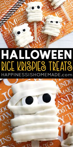 Mummy Halloween Rice Krispies Treats: These cute Mummy Halloween Rice Krispies Treats are fun to make and even more fun to eat! Make these easy Halloween treats for friends, family, and parties! #Halloween #HalloweenTreats #HalloweenDessert