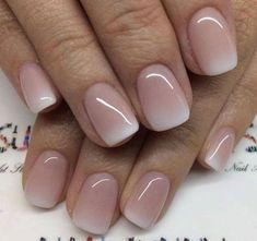 Wedding nails french Light colored nails Baby boomers nails Ombre nail design we. Light Colored Nails, Light Nails, Cute Nails, Pretty Nails, My Nails, Pretty Short Nails, Bridal Nails, Wedding Manicure, Wedding Makeup