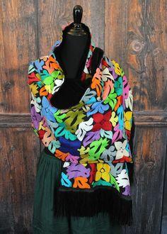 Velvet Lined Rebozo Shawl Hand Embroidered, Jalapa Mexico Hippie Boho Santa Fe   #Handmade #RebozoShawl