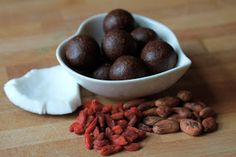 Raw Cacao bean & goji berry treat balls   70 g raw almonds (or cashews, walnuts, hazelnuts etc. OR 50g nuts + 20g chia / flaxseeds)  70 g raw cacao beans or nibs  45 g organic goji berries (Chinese wolfberry)  45 g dates (or use half dates & half dried apricots)  2 tsp extra virgin coconut oil  1 tbsp raw honey or your choice of syrup  1 tsp vanilla bean paste