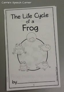 Carrie's Speech Corner - FREE Life Cycle of a Frog Printable mini-booklets for students to color and take home (plus a larger color edition for classrooms)