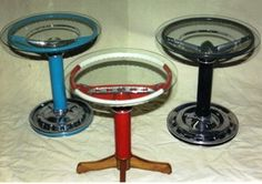 Vintage steering wheel side tables