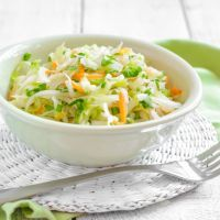 coleslaw made with cabbage, vinager, salad dressing