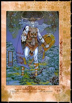 Llew Llaw Gyffes….Celtic (Irish & Welsh) God of harpers, healing, poets, smiths, sorcerers, and waters. Son of Arianrhod and raised by his uncle Gwydion. A curse prohibited him from having and earthly wife, so his uncles made him one out of flowers and named her Blodeuwedd. She and her lover, Gronw Pebr, plotted Llew's death, but because of Llew's divine origins, the death simply became an annual duel between the two men. His symbol is a white stag, and is celebrated on August 1, the…