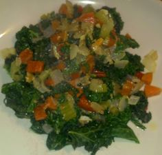 Braised Kale with red Peppers, Onions, Carrots, and Celery.  Healthy, Vegan, Gluten-Free, Low Calorie, Low Carbohydrate, Low Fat, Low G.I., High Fiber, High Protein