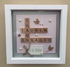 Box frame scrabble word art family wedding anniversary engagement gift - For the Home - Scrabble Kunst, Scrabble Tile Crafts, Scrabble Art, Scrabble Letters, Scrabble Wedding, Diy Engagement Gifts, Personalized Engagement Gifts, Engagement Presents, Engagement Timeline