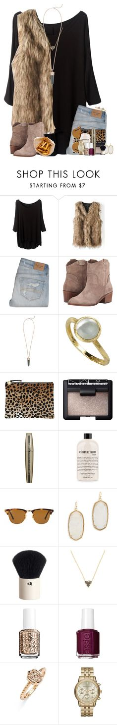 """With your love, nobody can drag me down."" by katew4019 ❤ liked on Polyvore featuring Abercrombie & Fitch, Dolce Vita, Kendra Scott, Marco Bicego, Clare V., NARS Cosmetics, L'Oréal Paris, philosophy, Ray-Ban and H&M"