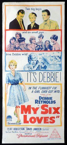 MY SIX LOVES 1962 Debbie Reynolds VINTAGE Daybill Movie poster