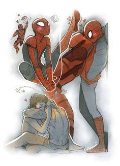 Read 💜Mini Comic Spiderpool 💜 from the story Imágenes Yaoi DC y Marvel by almene_asesina (loka del yaoi) with reads. Spideypool, Superfamily, Deadpool X Spiderman, Ms Marvel, Marvel Dc Comics, Marvel Avengers, Marvel Art, Fanart, Yuri