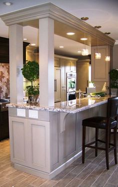 Kitchen Living Rooms Remodeling Galley Kitchen With Bar Separating Dining Room Design Ideas, Pictures, Remodel, and Decor - page 2 - Galley Kitchen Remodel, Kitchen Redo, Kitchen Living, New Kitchen, Kitchen Ideas, Kitchen Pass, Kitchen Pictures, Kitchen Cabinets, Kitchen Storage