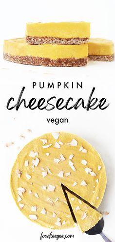 Healthy Vegan Pumpkin Cheesecake for a gluten free refined sugar free dessert. No-bake creamy cashew, pumpkin spice cheesecake filling on a chewy date pie/tart crust. An easy sweet treat recipe for fall / thanksgiving . . . . .#glutenfree #vegan #plantbased #pumpkinspice #cheesecake #dairyfreecheesecake #refinedsugarfree #nobakecheesecake #vegantart #dairyfree #healthy #nobake #vegandessert #falldessert #pumpkindessert #pumpkin #pumpkinrecipes #rawdessert #sugar free #pumpkin #rawcake Healthy Vegan Desserts, Raw Desserts, Sugar Free Desserts, Vegan Pumpkin Cheesecake Recipe, Dairy Free Cheesecake, Baked Pumpkin, Spiced Pumpkin, Pumpkin Spice, Vegan Tarts