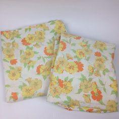 VTG Full Fitted & Flat Bed Sheet Flower Power Fabric Cutter Penn Prest Muslin #PennPrest