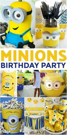 How to Throw the Ultimate Minions Birthday Party - Frugal Mom Eh! - How to Throw the Ultimate Minion Birthday Party to please any child on their birthday. A Minion the - Birthday Themes For Boys, 6th Birthday Parties, 1st Boy Birthday, Birthday Ideas, Minion Party Theme, Minion Birthday, Despicable Me Party, Fans, Child