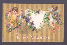 Gorgeous Valentine's Day Cupids Rose Garlands Violets Hearts Vintage Postcard | eBay