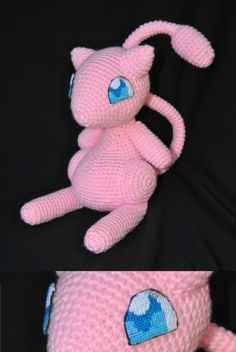 Crochet amigurumi Mew with cross stitch eyes by Nerdy Crochet Stuff : aichibiai