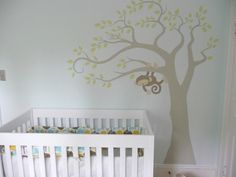 Suzie: Becoming Home - Love this hand painted tree monkey mural in this baby blue nursery! Blue ...