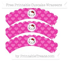 Free Hot Pink Heart Pattern  Hello Kitty Scalloped Cupcake Wrappers