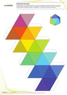 Platonic Solid: icosahedron of twenty triangles. Bastelbogen