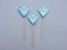 18 diamond donut toppers, cupcake toppers, bridal shower or engagement party decor