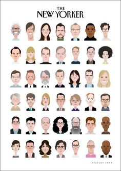Stanley Chow Illustration & Design illustrates The New Yorker magazine's editors, contributors and writing staff for their site. Face Illustration, People Illustration, Character Illustration, Graphic Design Illustration, Magazine Illustration, Stanley Chow, Animation Mentor, New Yorker Covers, Graphic Design Inspiration