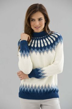 Classic Nordic Pullover free knitting pattern on Lion Brand Yarn at… Fair Isle Knitting Patterns, Sweater Knitting Patterns, Knit Patterns, Free Knitting, Baby Knitting, Knitting Ideas, Nordic Pullover, Nordic Sweater, Tejido Fair Isle