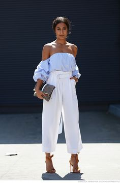 Love everything about this off the shoulders baby blue top paired with the high waisted white pants.