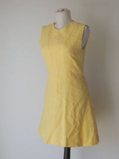 Vintage 1960s Mod Yellow Linen Scooter Dress by hipandvintage