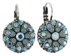 """Mariana Silvertone Flower Blossom Crystal Earrings, Aqua Pacific Blue 1029 26770. Leverback wire earrings. Crystals in aqua blue, blue ab, and pacific blue. Earrings are approx. 1"""" long (top of wire dangle to bottom of drop) and 5/8"""" wide. Drop itself is approx. 5/8"""" long. Hand made in Israel. Comes with a Mariana jewelry pouch. Image may be enlarged to show detail - please refer to product dimensions for actual size. Due to the handcrafted nature of this product, each item may vary..."""
