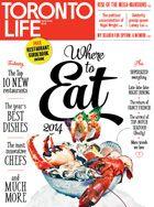 Toronto Life Magazine: April 2014 Where to Eat Now 2014 Mega Mansions, Toronto Life, Life Magazine, Dishes, Eat, Master Bedrooms, Magazine Covers, Restaurants, Stool