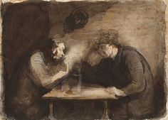 Honoré Daumier- Two Drinkers (ca. 1860)