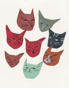 Kaye Blegvad is wonderful. Cat faces illustration print by kayeblegvad on Etsy. Art And Illustration, Illustration Design Graphique, Cat Illustrations, I Love Cats, Crazy Cats, Illustrator, Photo Chat, Cat Posters, Cat Face