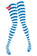 Blue Striped Stockings with a Red Ribbon vector art illustration