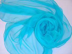 Seidenschals - Seidenschal 180 cm türkisblau Chiffonschal Stola - ein Designerstück von textilkreativhof bei DaWanda
