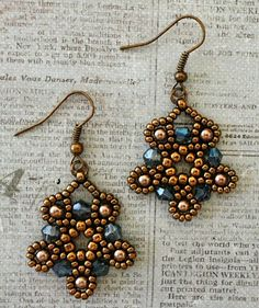 "SILVER MOON EARRINGS 11/0 seed beads Miyuki ""Dark Bronze"" (11-457D) 8/0 seed beads Miyuki ""Dark Bronze"" (8-457D) 4mm bicones ""Denim ..."