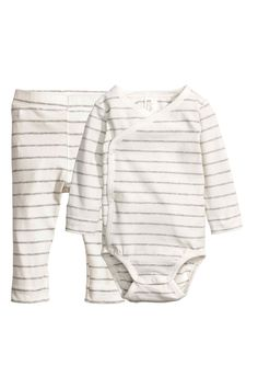Bodysuit and trousers - Natural white/Grey striped - Kids   H&M GB 1