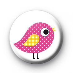 Pink Polka Dot Bird Button Badges Badge pin badges buttons button badge