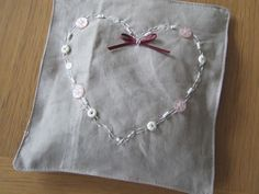 Lavender Bag. Linen with buttons & embroidery, beautiful!
