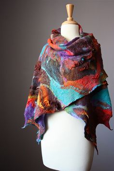 Abstract Nuno felted shawl / wrap scarf collage wool silk contemporary fiber art hand felted by VitalTemptation by VitalTemptation , Etsy, via Flickr