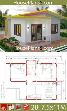 Haus&co House Plans with 2 Bedrooms Full plans - House Plans Sam Bow tie – It's different fro 2 Bedroom House Plans, Bungalow House Plans, Bungalow House Design, Dream House Plans, Tiny House Design, House Floor Plans, Dream Houses, Simple House Plans, Simple House Design