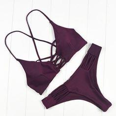 Imane Burgundy Bikini Set