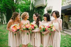 Neutral dresses, bright flowers