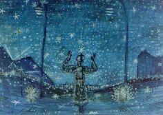 František Hudeček,Noční chodec II/ A Night Walker II, 1941. Night Walkers, Paper Moon, Night Skies, Dusk, Surrealism, Artist, Painting, Inspiration, Beautiful