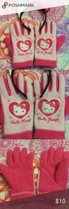 Hello Kitty Gloves and Headband 20 Hello Kitty gloves and headband. Super cute. Gloves will fit girls size. Hello Kitty Accessories Mittens