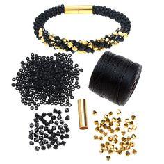 Refill - Deluxe Beaded Kumihimo Bracelet -Black/Gold - Exclusive Beadaholique Jewelry Kit - Bracelet Making Kits - Jewelry Kits - Jewelry Making Kits | Beadaholique