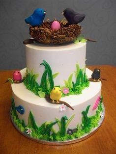 Bird Theme Baby Shower Cake